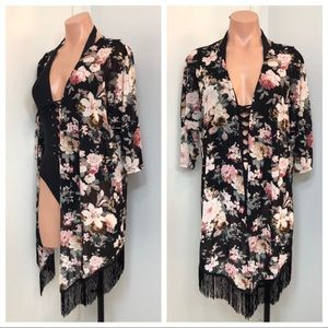 Floral Print Open Front Fringe Cardigan Cover-up